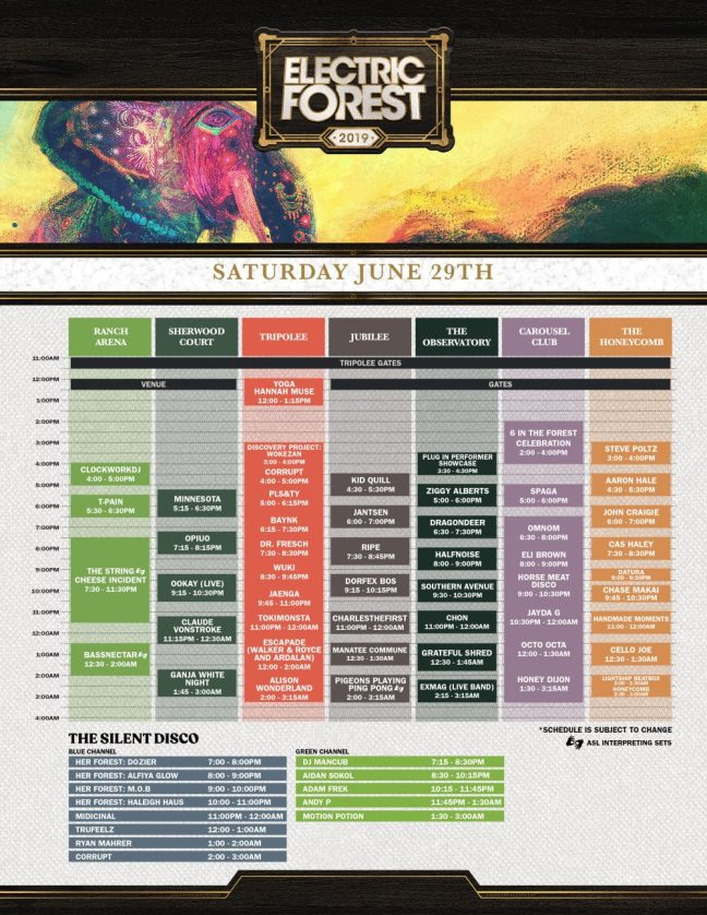 Electric Forest 2019 Saturday Schedule