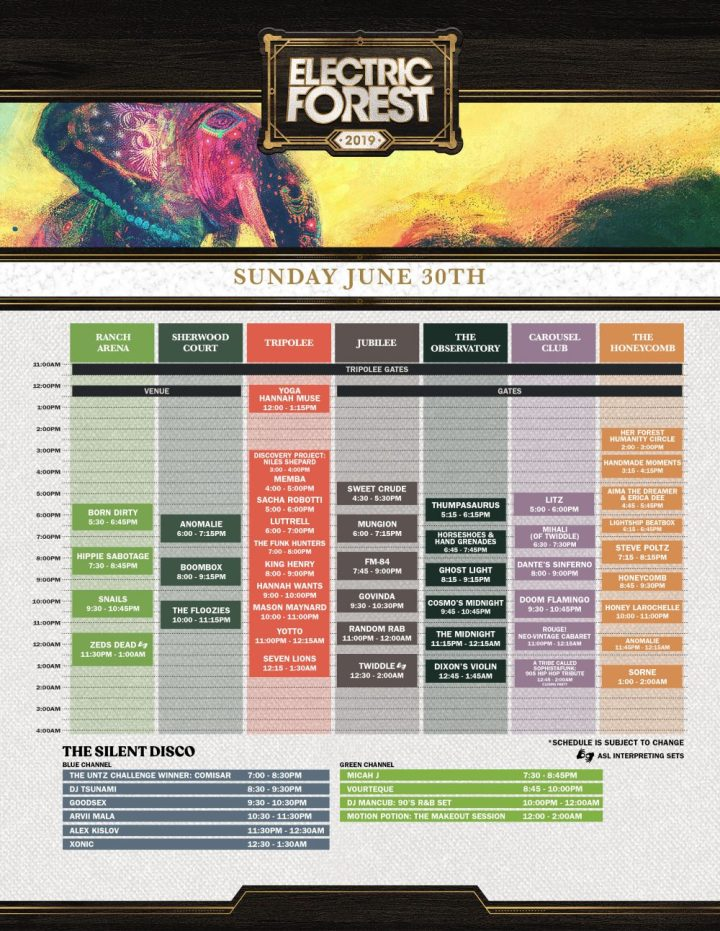 Electric Forest 2019 Sunday Schedule